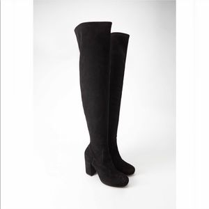 Forever 21 black suede knee boots Sz 8 over knee